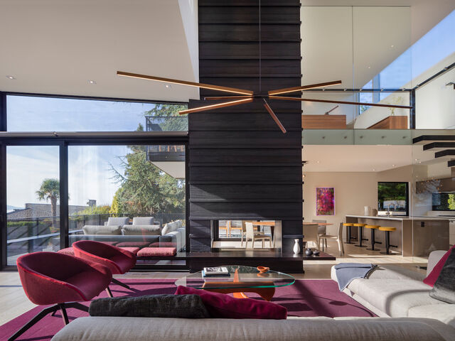 Modern Seattle home project with large windows.