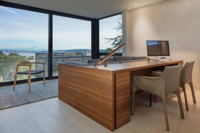 Interior view from modern Seattle home with windows from MINIMAL Glass + Door.