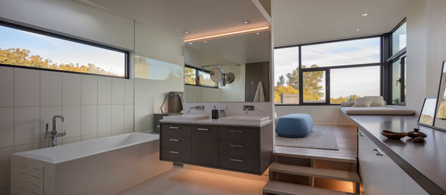 Seattle home project by MINIMAL Glass + Door featuring contemporary windows on the exterior of a bathroom.